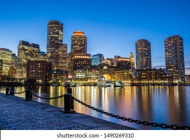 Boston, Massachusetts/USA - October 2018: Stunning Blue Hour View and Reflections of the Boston Skyline