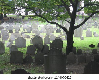 Boston, Massachussets. USA. September 2006. The old graveyard back in the 2000s