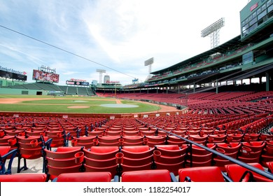 Boston, Massachussetts, USA, July 27th 2018: View of Empty Fenway Park. Fenway Park is a baseball park located in Boston ,it is the oldest ballpark in Major League Baseball.