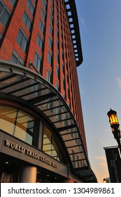 Boston, Massachussetts/USA- Sept. 4, 2009: Closeup of exterior of the Seaport Hotel & World Trade Center West on Seaport Blvd. directly in front of Boston Harbor.