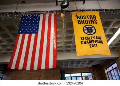 BOSTON - MAY 11: Banner of Boston Bruins in Ladder No 1, Engine No 8, Firestation in historic North End on May 11, 2012 in the Italian section of Boston, MA