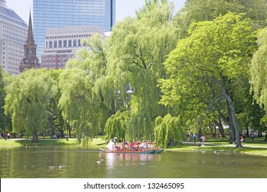 BOSTON - MAY 20: Swan boat with tourists in the Public Garden and Boston Common on May 20, 2010, Boston, MA.