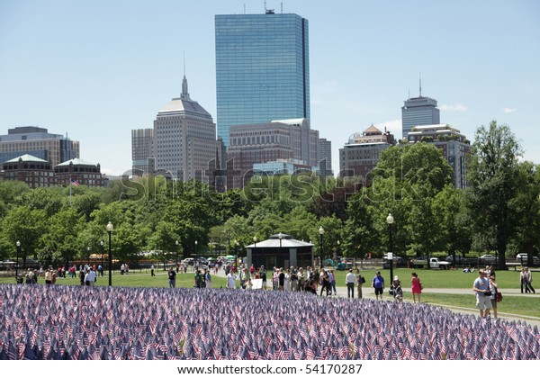 BOSTON - MAY 28: Thousands of American flags adorn the Boston Common for Memorial Day. Each flag represents one soldier who gave their lives serving their country. - Boston, May 28, 2010
