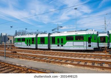 Boston Metro MBTA Green Line Type 9 modern fleet by CAF USA at Riverside terminal station, Newton, Massachusetts MA, USA.