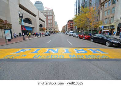 BOSTON - NOV. 2, 2013: Boston Marathon Finish Line on Boylston Street at Copley Square, Boston, Massachusetts, USA.