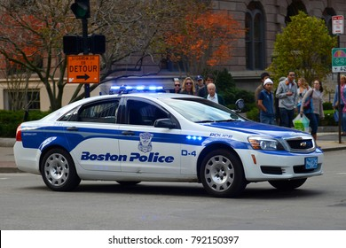 BOSTON - NOV 2, 2013: Boston Police Car on duty in downtown Boston, Massachusetts, USA.
