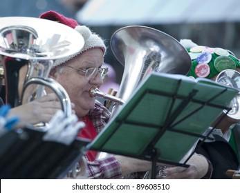 BOSTON - NOVEMBER 26: Nearly 200 Tuba Musicians participated in the 26th Boston Tuba Christmas on November 26, 2011 in Boston, Massachusetts.