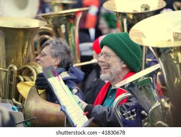 BOSTON - NOVEMBER 28: Nearly 200 Tuba Musicians participated in the 24th Boston Tuba Christmas on November 28, 2009 in Boston, Massachusetts.
