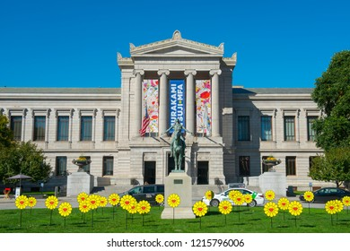 BOSTON - OCT. 17, 2017: Museum of Fine Arts and Appeal to the Great Spirit statue, Boston, Massachusetts, USA.