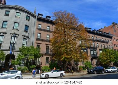 BOSTON - OCT. 3, 2013: Boston historic buildings on Beacon Street near Berkeley Street, Boston, Massachusetts, USA.