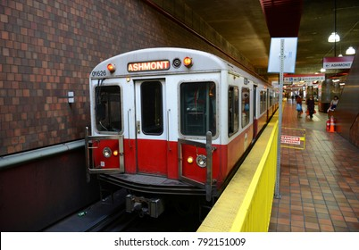 BOSTON - OCT 3, 2013: Boston Metro (MBTA) Red Line stops at Alewife Station, Cambridge in Boston Massachusetts, USA.