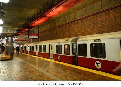 BOSTON - OCT 3, 2013: Boston Metro (MBTA) Red Line stops at Alewife Station, Cambridge in Boston Massachusetts, USA.
