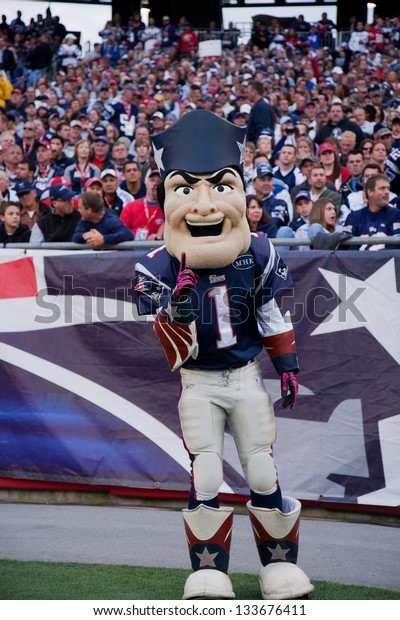 BOSTON - OCTOBER 16: Pat Patriot Mascot for the New England Patriots NFL Football Team at Gillette Stadium, New England Patriots vs. the Dallas Cowboys on October 16, 2011 in Foxborough, Boston, MA