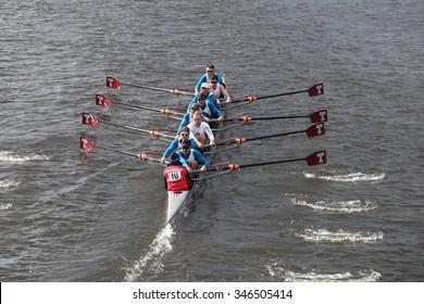 BOSTON - OCTOBER 18, 2015: California races in the Head of Charles Regatta Men's Master Eights [PUBLIC RACE]