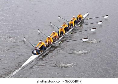 BOSTON - OCTOBER 18, 2015: California won in the Head of Charles Regatta Women's Master Eights [PUBLIC RACE]