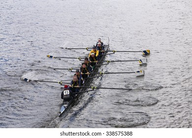 BOSTON - OCTOBER 18, 2015: Dallas United races in the Head of Charles Regatta Women's Youth Eights [PUBLIC RACE]
