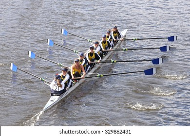 BOSTON - OCTOBER 18, 2015: Long Beach Junior Crew races in the Head of Charles Regatta Women's Youth Eights [PUBLIC EVENT]