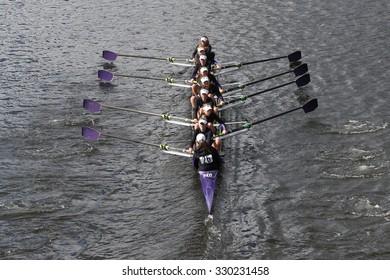 BOSTON - OCTOBER 18, 2015: Mount Saint Joseph races in the Head of Charles Regatta Women's Youth Eights