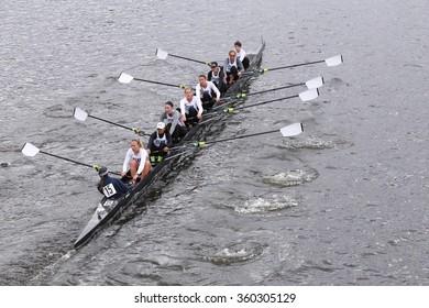 BOSTON - OCTOBER 18, 2015:  Penn races in the Head of Charles Regatta Women's Master Eights [PUBLIC RACE]