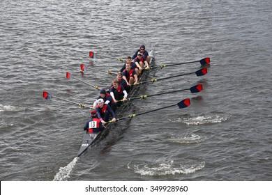BOSTON - OCTOBER 18, 2015: Pennsylvania University races in the Head of Charles Regatta men's Master Eights [PUBLIC RACE]
