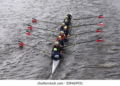 BOSTON - OCTOBER 18, 2015: RA-Rye races in the Head of Charles Regatta Women's Youth Eights [PUBLIC RACE]