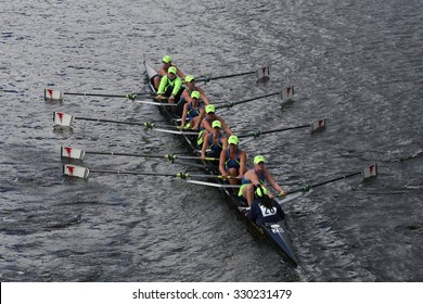 BOSTON - OCTOBER 18, 2015: Resilient Rowing Club races in the Head of Charles Regatta Women's Youth Eights