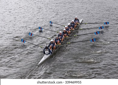 BOSTON - OCTOBER 18, 2015: Riverside  Boat Club races in the Head of Charles Regatta Women's Youth Eights [PUBLIC RACE]