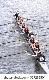 BOSTON - OCTOBER 18, 2015:  Saugatuck races in the Head of Charles Regatta Women's Youth Eights