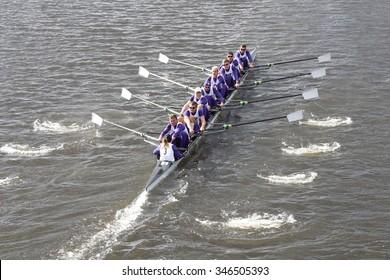 BOSTON - OCTOBER 18, 2015: Washington races in the Head of Charles Regatta Men's Master Eights [PUBLIC RACE]