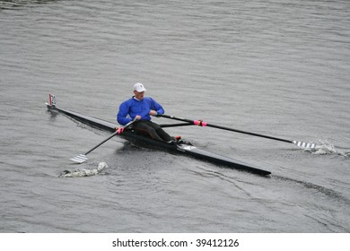 BOSTON - OCTOBER 18: Bjorn Anders Holmber of Sweden competes in the Head Of The Charles Regatta men's Masters Race (winning with a time of 19:11) on October 18, 2009 in Boston, Massachusetts.