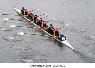 BOSTON - OCTOBER 18: Coast Guard Academy women's rowing team competes in the Head Of The Charles Regatta October 18, 2009 in Boston, Massachusetts.