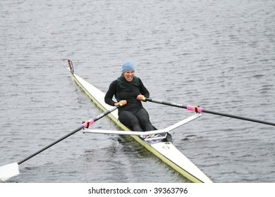 BOSTON - OCTOBER 18: Julie Dykema competes in the Head Of The Charles Regatta Women's Masters Race October 18, 2009 in Boston, Massachusetts.