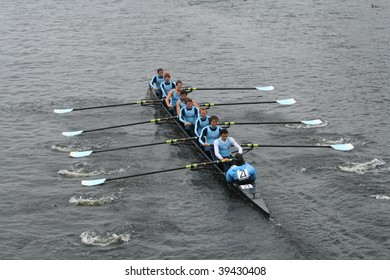 BOSTON - OCTOBER 18: University of North Carolina at Chapel Hill-Men's Crew men's rowing team competes in the Head Of The Charles Regatta October 18, 2009 in Boston, Massachusetts.