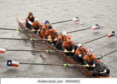 BOSTON - OCTOBER 18: University of Texas Austin men's rowing team competes in the Head Of The Charles Regatta on October 18, 2009 in Boston, Massachusetts.