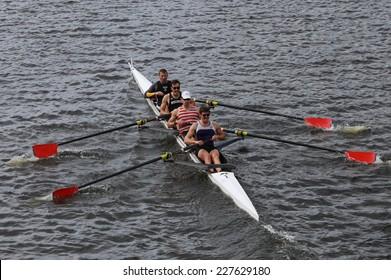 BOSTON - OCTOBER 19, 2014: Cornell Univerisity races in the Head of Charles Regatta Men's Championship Fours