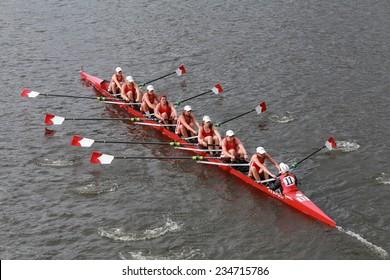 BOSTON - OCTOBER 19, 2014: Cornell University races in the Head of Charles Regatta Women's Championship Eights
