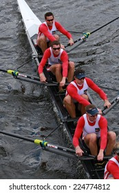 BOSTON - OCTOBER 19, 2014: French Rowing races in the Head of Charles Regatta Men's Championship Eights, Craftsbury Sculling Center won with a time of 14:20