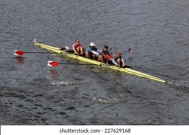 BOSTON - OCTOBER 19, 2014: Harvard University races in the Head of Charles Regatta Men's Championship Fours