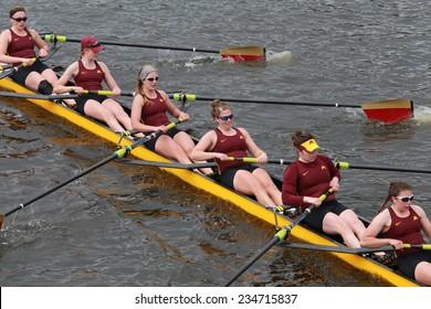 BOSTON - OCTOBER 19, 2014: Minnesota University races in the Head of Charles Regatta Women's Championship Eights