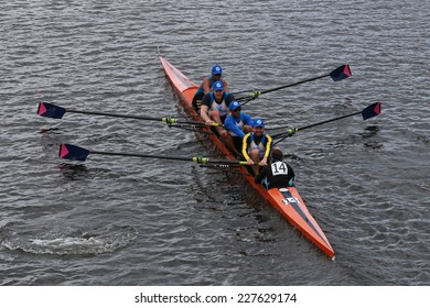 BOSTON - OCTOBER 19, 2014: Nassau rowing races in the Head of Charles Regatta Men's Championship Fours