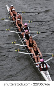 BOSTON - OCTOBER 19, 2014: Radcliff University Rowing races in the Head of Charles Regatta Women's Championship Eights