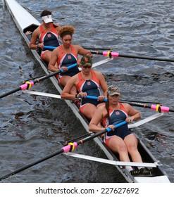 BOSTON - OCTOBER 19, 2014: Syracuse University races in the Head of Charles Regatta women's Championship Fours