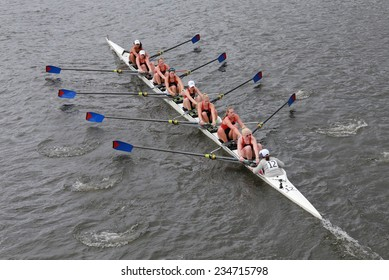 BOSTON - OCTOBER 19, 2014: University of Pennsylvania races in the Head of Charles Regatta Women's Championship Eights