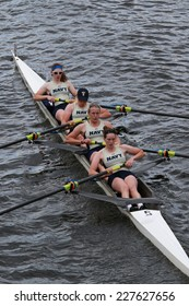 BOSTON - OCTOBER 19, 2014: US Naval Academy races in the Head of Charles Regatta women's Championship Fours