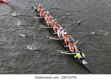 BOSTON - OCTOBER 19, 2014: Yale University races in the Head of Charles Regatta Women's Championship Eights