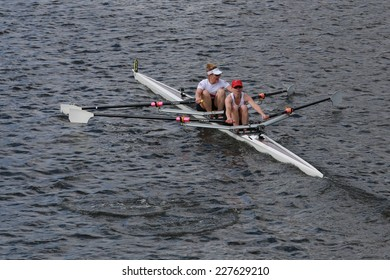 BOSTON - OCTOBER 19, 2014:Lake Union Rowing with Leslie Mittendorf and Melissa Pearlstein races in the Head of Charles Regatta women's Doubles