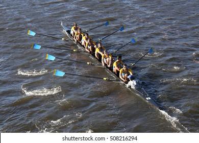BOSTON - OCTOBER 22, 2016: Delaware University races in the Head of Charles Regatta Men's College Eights [PUBLIC RACE]
