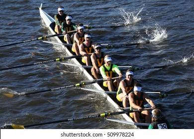 BOSTON - OCTOBER 22, 2016: vermont university races in the Head of Charles Regatta Men's College Eights [PUBLIC RACE]