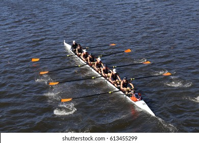 BOSTON - OCTOBER 23, 2016: Bromfield Acton Boxborough (bottom) Bedford(middle)  St andrews(top) races in the Head of Charles Regatta Men's Youth Eights [PUBLIC RACE]