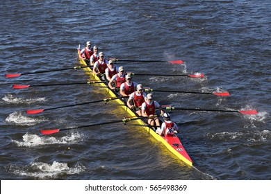 BOSTON - OCTOBER 23, 2016: Chaminade races in the Head of Charles Regatta Men's Youth Eights [PUBLIC RACE]